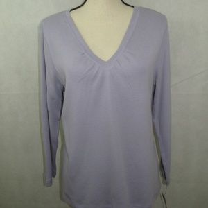 Rafaella V Neck Long Sleeve Top Size L Purple New